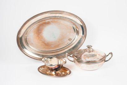 Ensemble en métal argenté, du modèle Perles,...