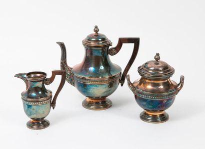 Service à thé sur piédouche (3 pièces) en...