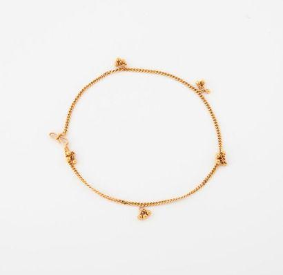 Bracelet de cheville en or jaune (750) à...