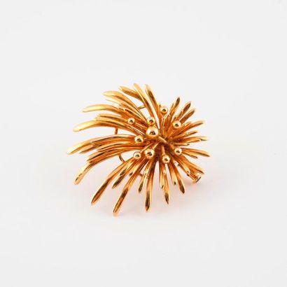 Broche gerbe en or jaune (750).  Epingle...