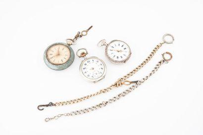 Deux montres de gousset en argent (min. 800)....