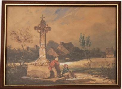 A. BERNAY (XIXème) Scène de taverne. 1836. Dessin à l'aquarelle sur papier, partiellement...