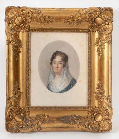 Ecole FRANCAISE du début du XIXème siècle Portrait de femme en buste au voile brodé....