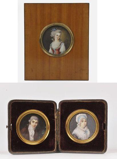 Trois miniatures rondes. - Homme et jeune...