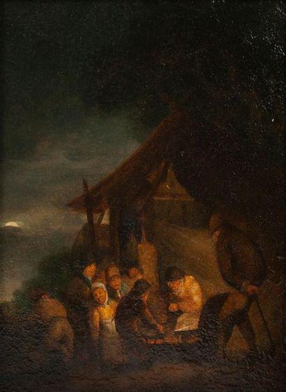 Attribuée à Egbert Van Der POEL (1621-1664) Assemblée de paysans au clair de lune...