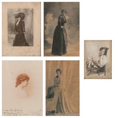 Cinq photographies dédicacées à Eugène BRIEUX (1858-1932)