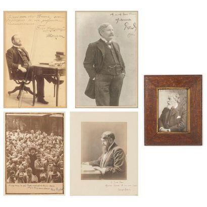 Trois photographies dédicacées à Eugène BRIEUX (1858-1932) et deux, dédicacées à Jeanne EVEN (1877-1950)