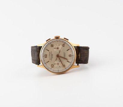 ULTIMOR CHRONOGRAPHE SUISSE Montre bracelet d'homme. Boîtier rond en or jaune (750)....