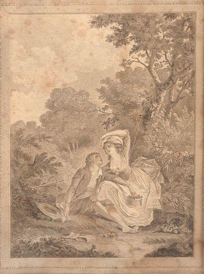 Lot de 4 gravures :  - Huquier d'après Watteau : Les jardins de Bacchus ; les jardins...