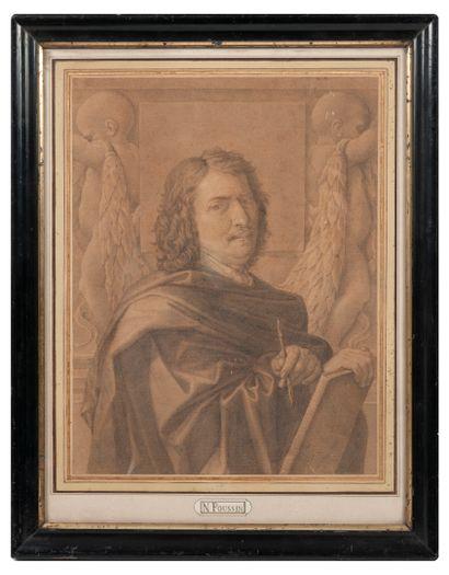 D'après Nicolas POUSSIN (1594-1655) Autoportrait.  Fusain sur papier.  31,5 x 24,5...