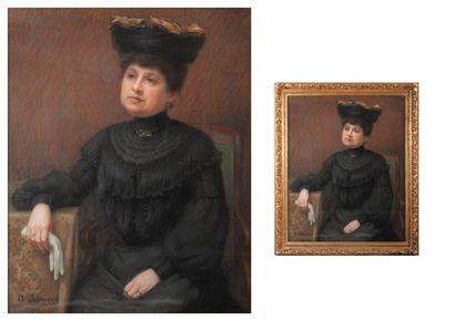 Albert SCHWEND (c.1846/55-?) Portrait de femme assise, accoudée, tenant un gant blanc....