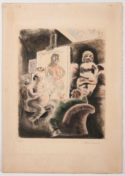 Deux gravures sur papier - JACQUEMIN André (1904-1992),  Paysage d'hiver.  Signée...