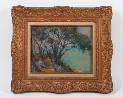Arsen SHABANYAN (1864-1949) Jeune fille près de la Calanque.  Pastel sur papier....