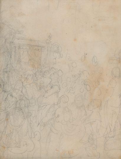 Hippolyte BELLANGE (1800-1866) Au moulin d'Amour ou le peintre en enseigne trinquant....