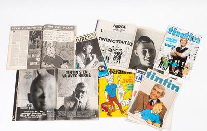 Important lot de journaux et revues sur Tintin...