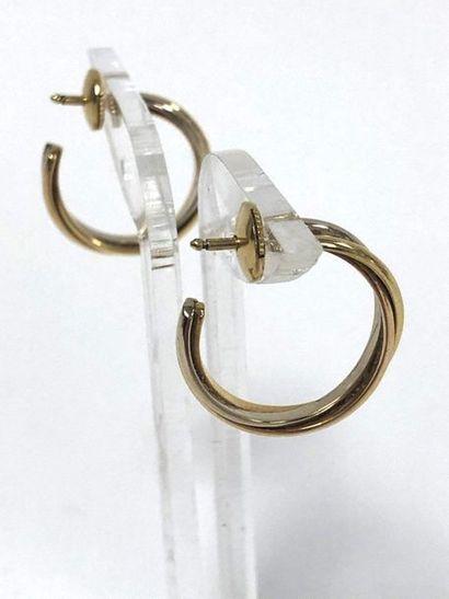 CARTIER Paris, Trinity Paire de créoles trois anneaux en or de trois tons (750)....