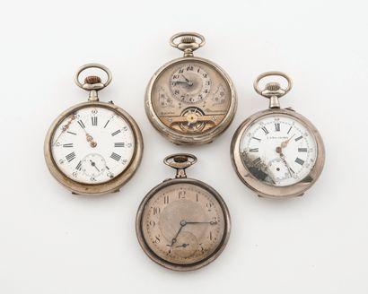 Lot de 4 montres de gousset en argent (min.800)...
