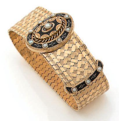 Bracelet ceinture en or jaune (750) à maille...