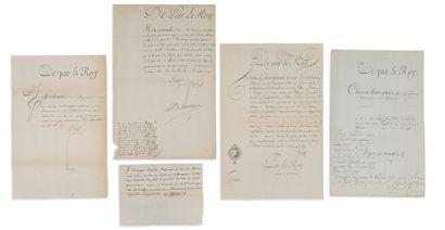 LETTRES DE CACHET. 3 L.S. de LOUIS XVI (secrétaire),...