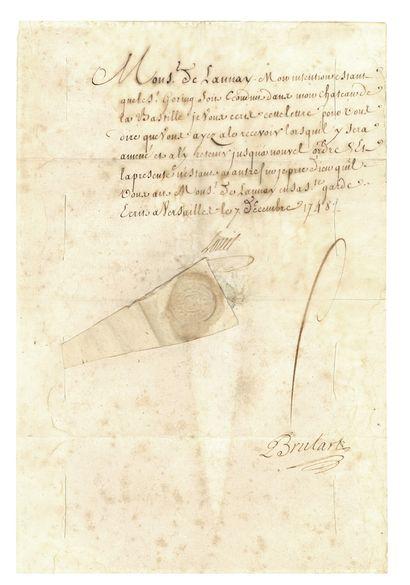LETTRE DE CACHET. L.S. de LOUIS XV (secrétaire),...