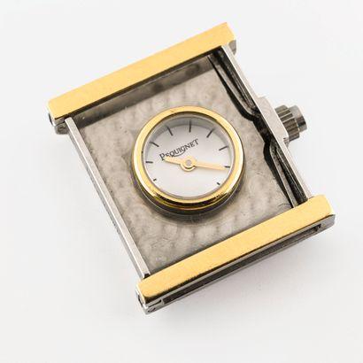 PEQUIGNET, Caméléon Boîtier de montre en acier et métal doré de forme rectangulaire....