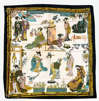 HERMES Paris Carré en twill de soie à décor imprimé de geishas et bordure noire....