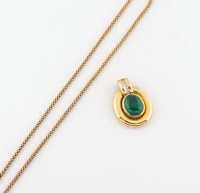 Chaîne en or jaune (750) à maille vénitienne.  Fermoir anneau ressort.  Poids :...