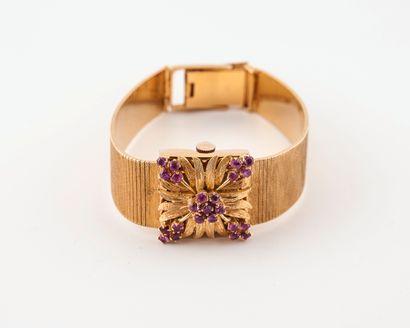 EBART WATCH Montre bracelet de dame en or jaune (750).  Boîtier carré avec cache-cadran...