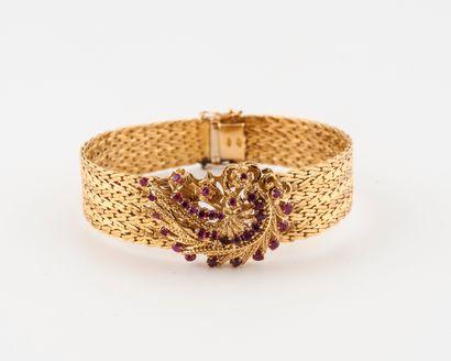 Bracelet ruban en or jaune (750) à maille...