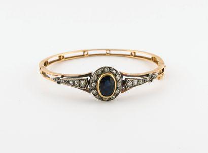 Bracelet jonc ouvrant en or jaune (750) ajouré...