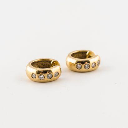 Paire de petites créoles en or jaune (750),...