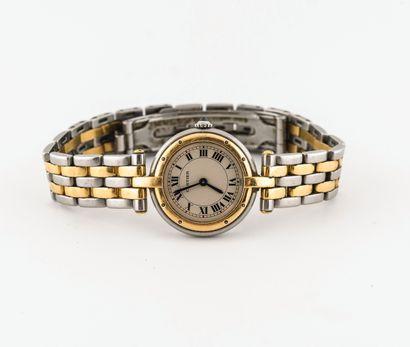 CARTIER, Vendôme Montre bracelet de dame en or jaune (750) et acier.  Boîtier rond....
