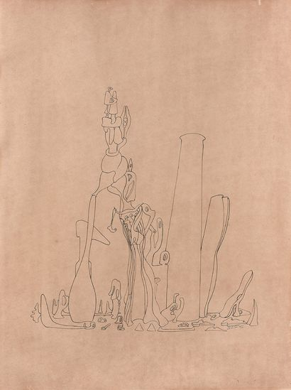 Yves TANGUY (1900-1955) Elle viendra, 1950. Huile sur toile. Titrée, datée et mentions...