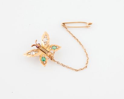 Butterfly-shaped necklace in yellow gold (750) set with old and rose-cut diamonds,...