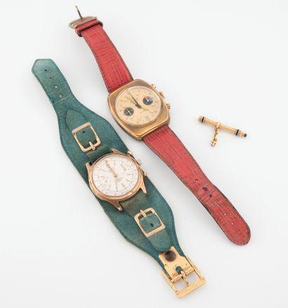 DREFFA ou DESOTOS Deux montres bracelets d'homme.  Boîtiers circulaire ou en tonneau...