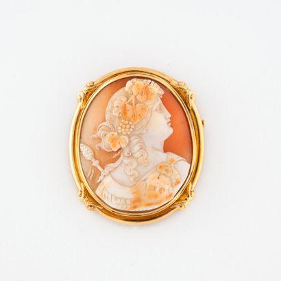 Broche pendentif ovale à monture en or jaune...