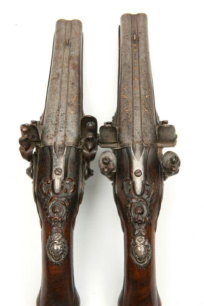 FRANCE Joseph LAMOTTE L'ainé à Saint Etienne. Pair of flintlock hunting pistols,...