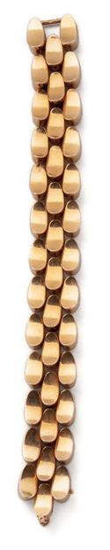 Yellow gold (750) ribbon bracelet with concave...