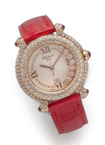 CHOPARD, HAPPY SPORT Montre bracelet de dame. Boîtier rond en or jaune (750). Lunette,...