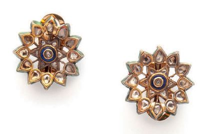 Pair of yellow gold (750) openwork ear clips...