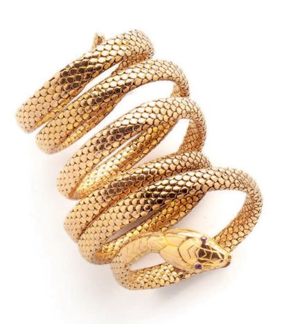 Flexible bracelet in yellow gold (750) with...