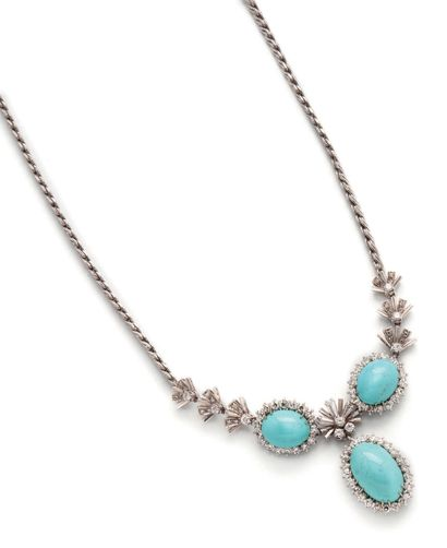 Necklace in white gold (750) with plaited...