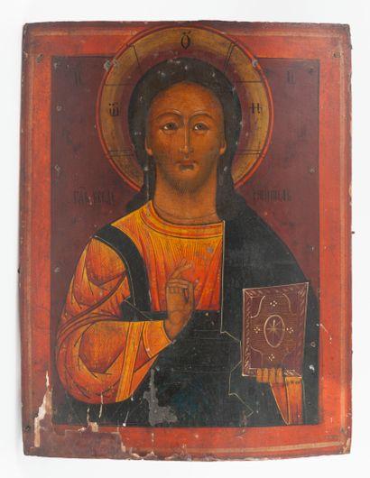 Icon of Christ Pantocrator.  Tempera on...