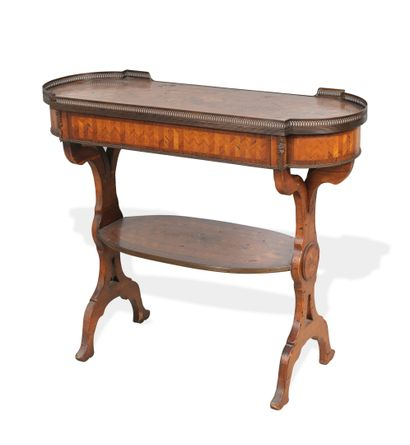 FRANCE, Style Louis XVI, vers 1880-1900 Rectangular work table with rounded ends...
