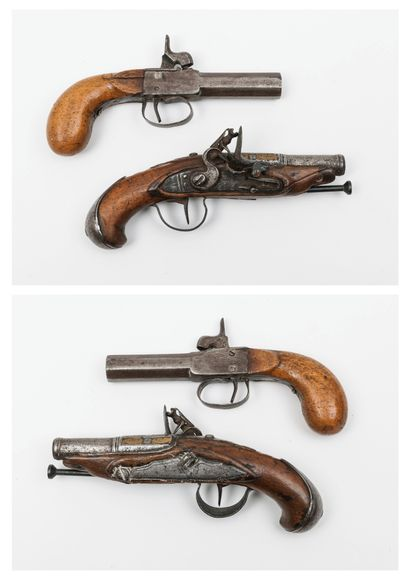 Two travel pistols :  - one flintlock, from...