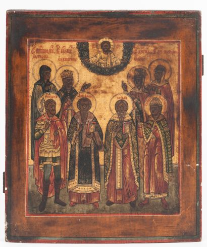 Family icon showing an assembly of saints....