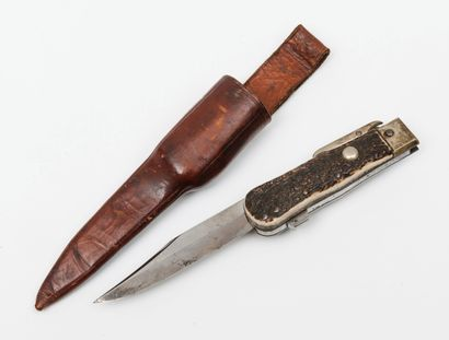 Hunting dagger knife, with lock.  Plates...