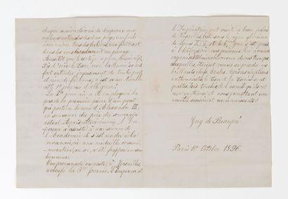 de BEAUPRE Guy VOYAGE OFFICIEL DU TSAR NICOLAS II (1868-1918) EN FRANCE.  Lettre...