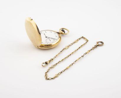 Montre de gousset en or jaune (750).  Couvercle...