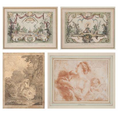 Lot de 4 gravures :  - Huquier d'après Watteau...
